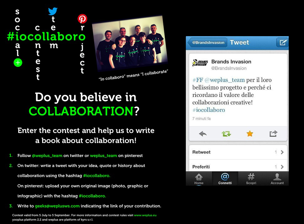 Social contest #iocollaboro + tweet Brands Invasion
